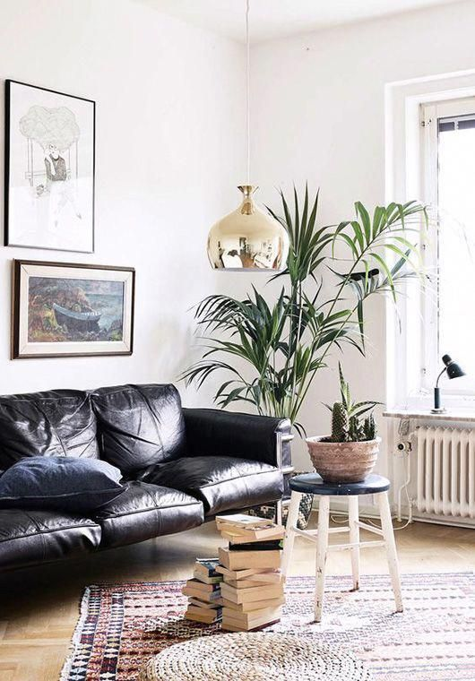 a gorgeous contemporary living room with a black leather sofa, stacks of books, potted plants and a chic gallery wall