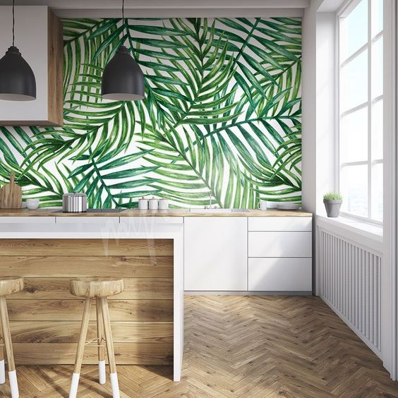 tropical wallpaper is the best way to accent a wall