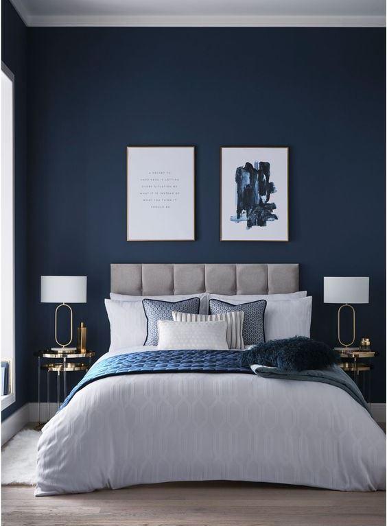 grey bedrooms with navy bedding  bedding design ideas