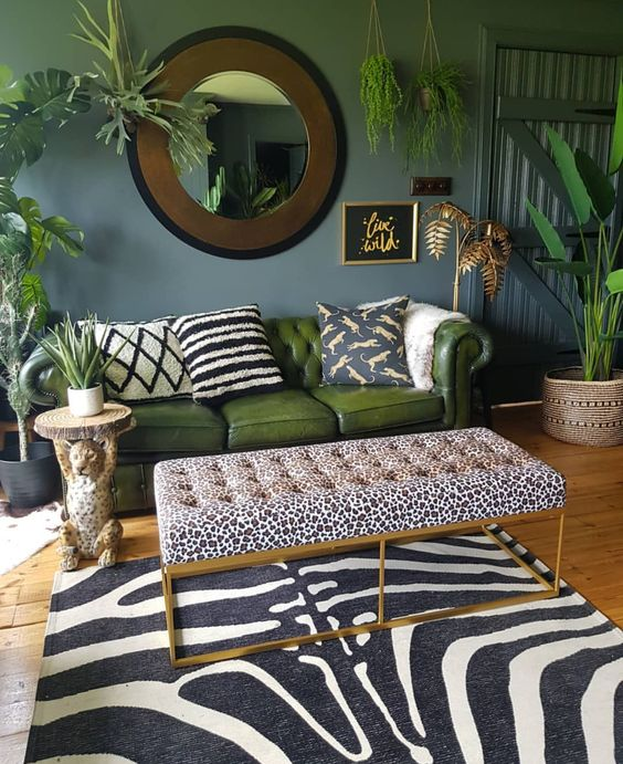 a refined tropical living room with grey walls, a green leather sofa, a leopard ottoman and zebra rug plus potted plants
