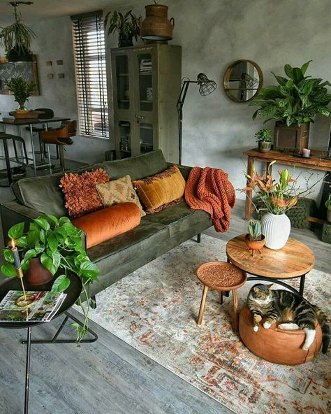 a relaxed boho space with a green leather couch, wooden furniture and potted greenery is welcoming and simple