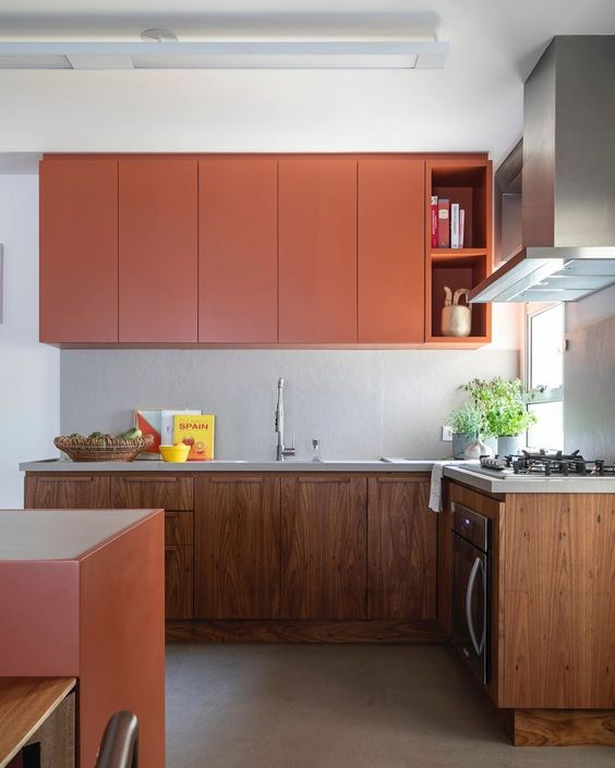 a stylish kitchen with sleek orange uppers and wooden lower cabinets and an orange kitchen island looks very trendy