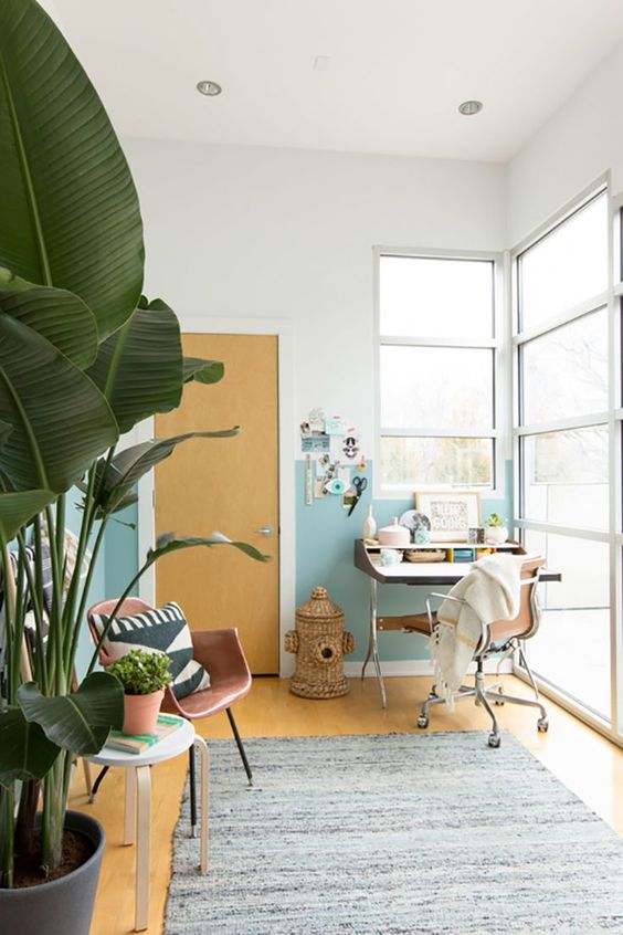 a tropical-infused home office with color block walls, mid-century modern furniture, potted plants and a woven basket