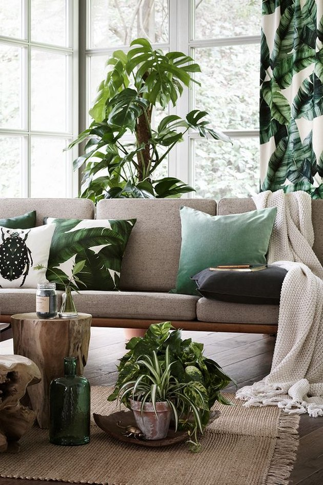 an elegant tropical living room in neutrals, with a grey sofa, stumps, potted plants and tropical pillows