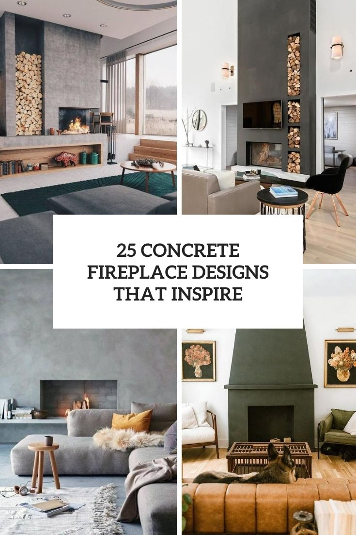 25 Concrete Fireplace Designs That Inspire