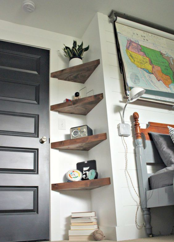 thick rustic triangle corner shelves will give a slight rustic feel and a touch of color to the space