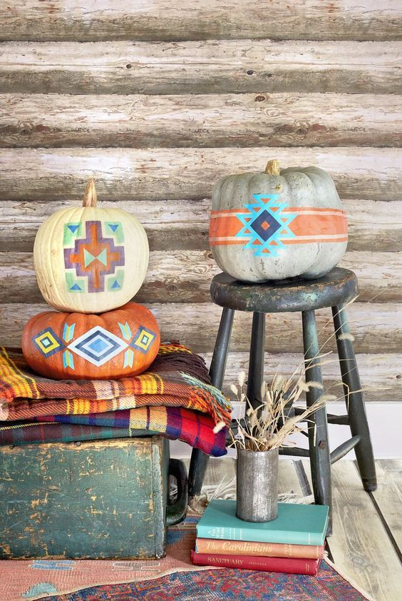 super cool and bright boho painted pumpkins will be nice decorations for both fall and Halloween