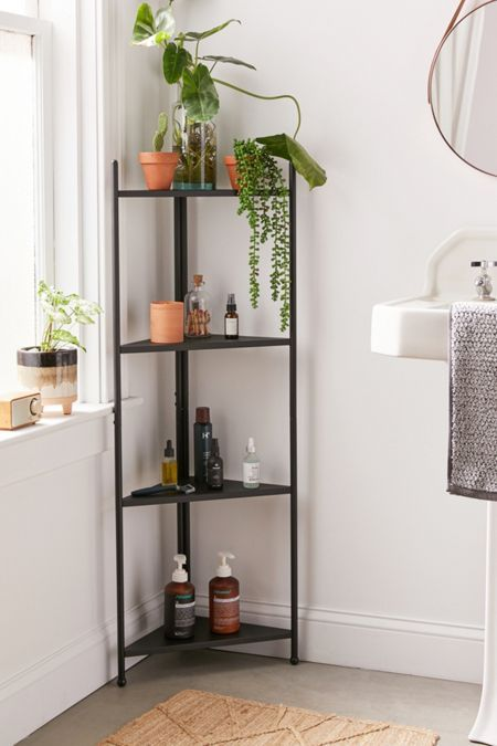 a modern black corner shelving unit is a great thing for a bathroom, it will save much space and will bring your comfort