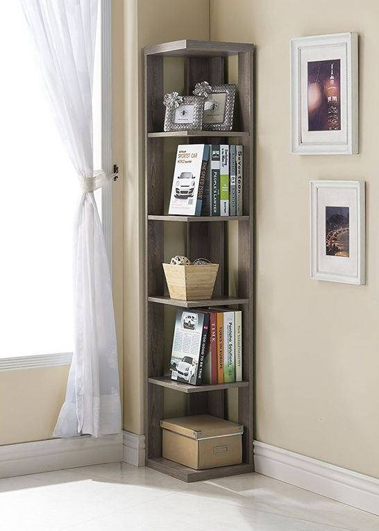 a simple minimalist dark wooden corner shelving unit is a stylish idea that will make use of your corner space