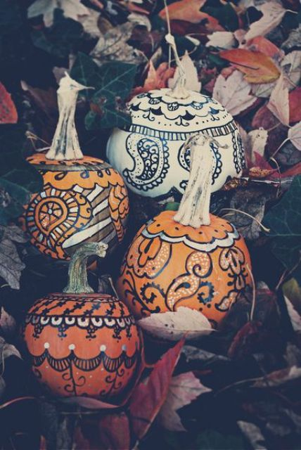 boho painted pumpkins can be used for decor both indoors and outdoors and look awesome