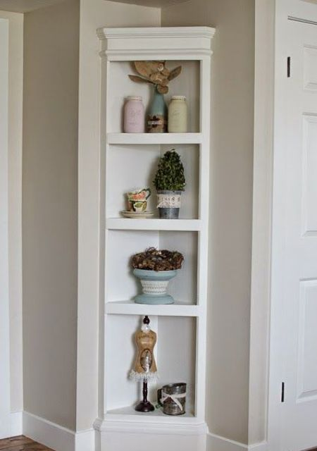 a small built-in corner open shelving unit for a rustic vintage space is timeless elegance and chic