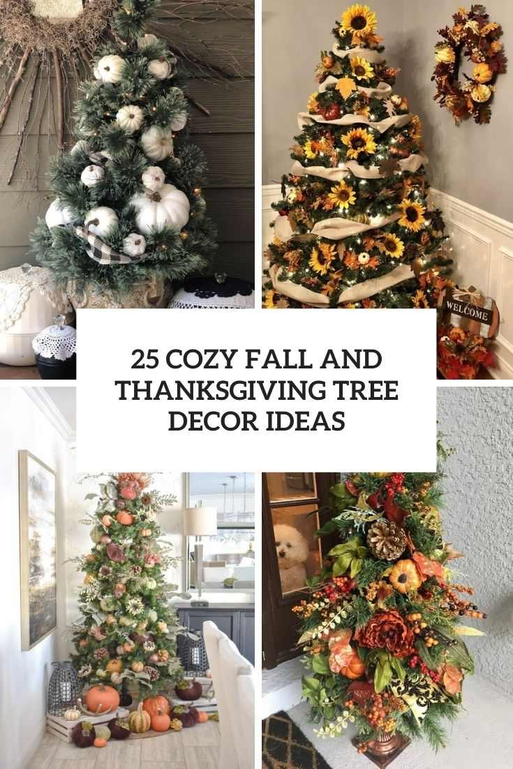 cozy fall and thanksgiving tree decor ideas cover