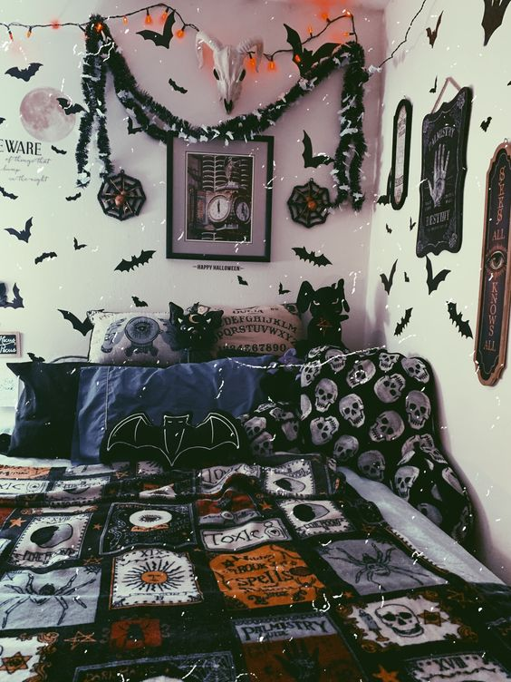 a Gothic Halloween bedroom decorated with paper bats, garlands and signs, with scary bedding and plushies plus lights