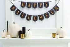 minimalist b&w halloween mantel decor