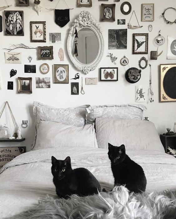 a stylish black and white bedroom with a bold and catchy gallery wall, signs and two black cats is Halloween-ready