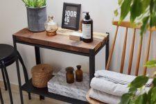 06 a mini bathroom shelf with a stained wood top made of an IKEA Hyllis shelf