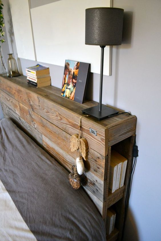 a pallet headboard with storage is a great rustic meets industrial idea for your bedroom