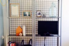10 IKEA Hyllis shelves with wire mesh on the back prevents your objects from falling