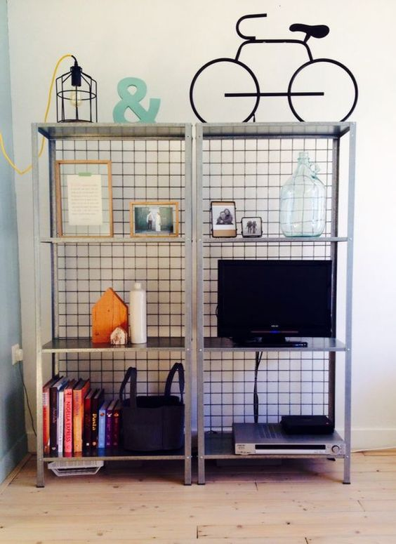 IKEA Hyllis shelves with wire mesh on the back prevents your objects from falling