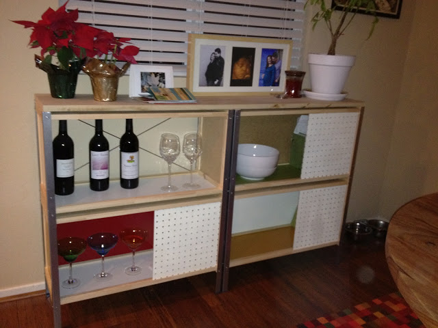 a stylish modern credenza built of IKEA Hyllis, APA storage boxes and pegboards
