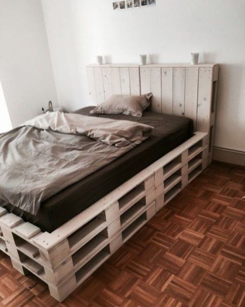 such a raised pallet bed will give you even more storage space inside it, which is very practical and smart