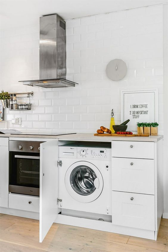 a white contemporary kitchen with a washing machine placed into a cabinet, which saves a lot of space