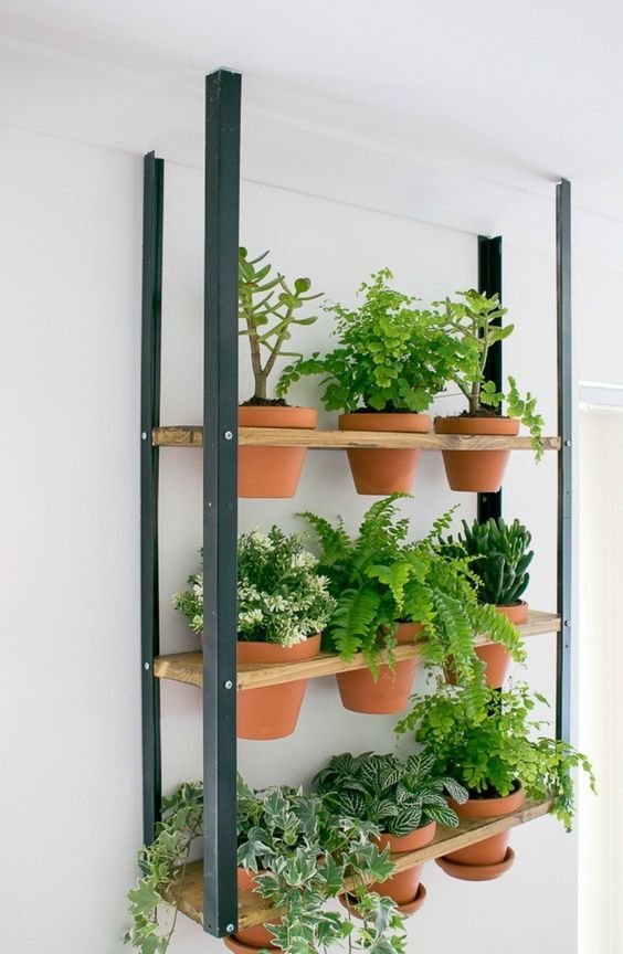 an IKEA Hyllis shelf turned into a suspended industrial garden that saves your floor space