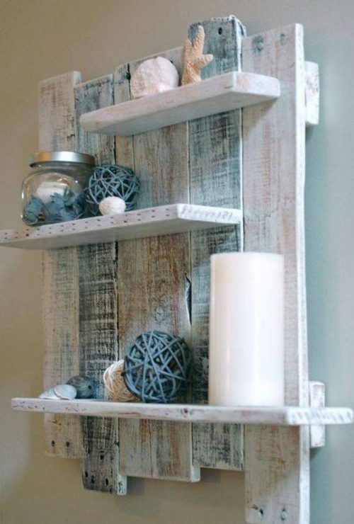 a rustic meets shabby chic wall-mounted shelf done in neutral and pastel shades