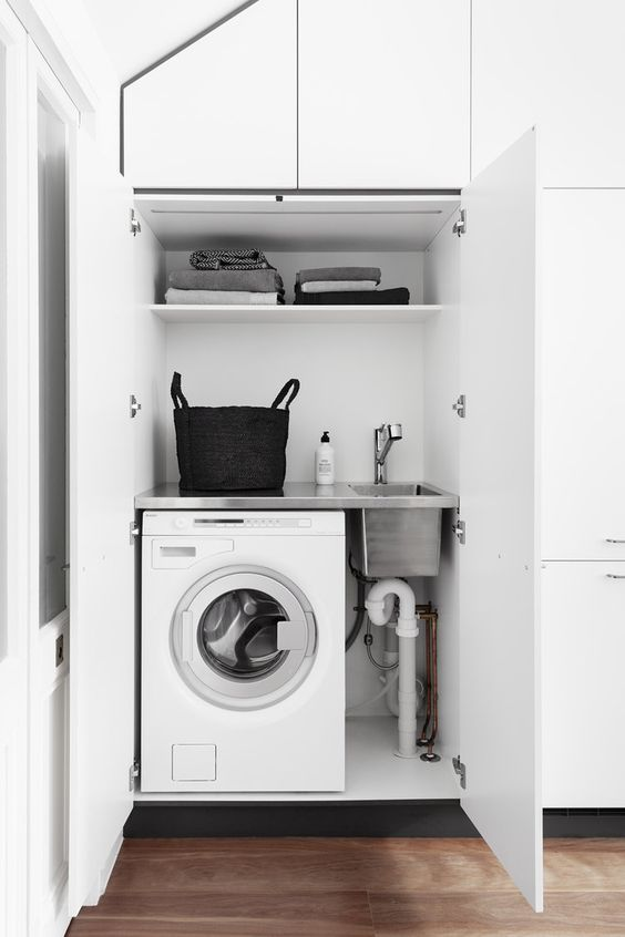 a small laundry built into a sleek white cabinet is a great idea – you can place this cabinet anywhere