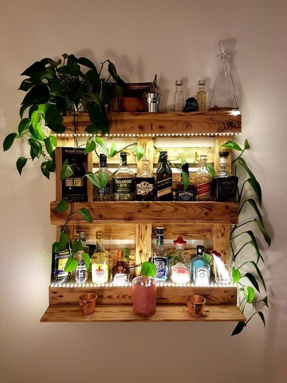 a lit up bar shelf with liquors, glasses, a potted plant and lights to highlight this piece of furniture