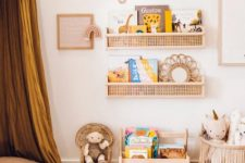 DIY IKEA Flisat wall shelves hacked with cane webbing for a chic rustic feel – perfect for a kid's room