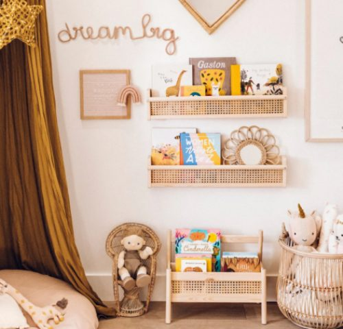 DIY IKEA Flisat wall shelves hacked with cane webbing for a chic rustic feel - perfect for a kid's room