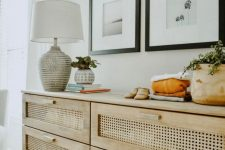 DIY IKEA Tarva dresser hack with cane looks very summer-like, relaxed and very chic, the soft stain color is amazing