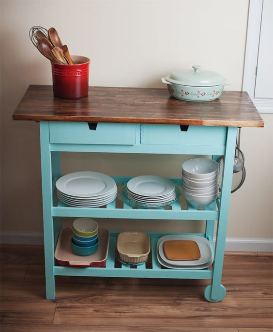 a bright IKEA Forhoja kitchen cart hack with turquoise paint and a butcherblock countertop for your kitchen