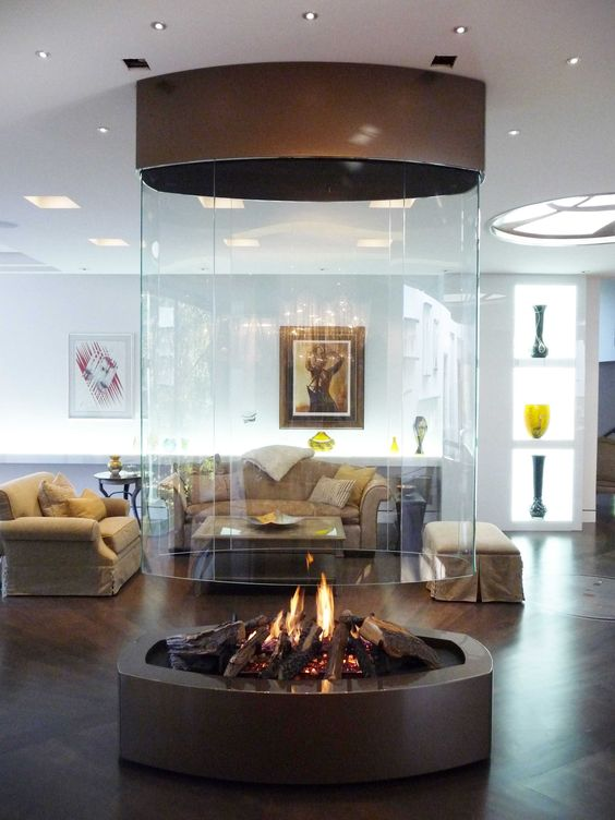 a modern looking metal fireplace