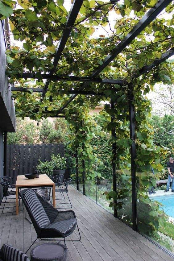 a modern deck with black wicker furniture, a dining table and lots of climbing greenery next to the pool