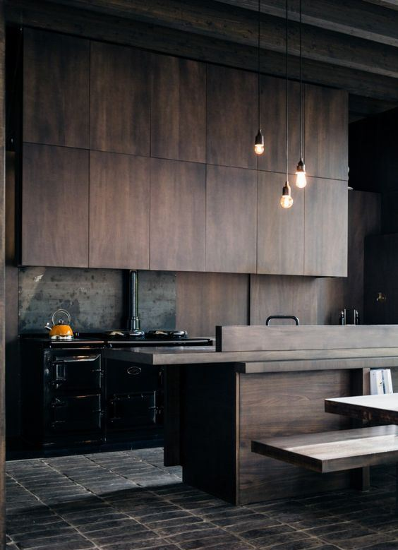 a moody minimalist kitchen design