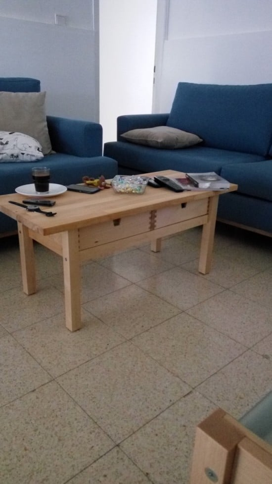 a simple low coffee table of an IKEA Forhoja cart is a cool and natural idea and you can craft it easily and fast