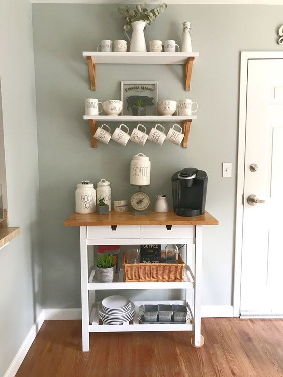 a stylish IKEA Forhoja hack with white paint and a butcherblock countertop to make it a coffee station