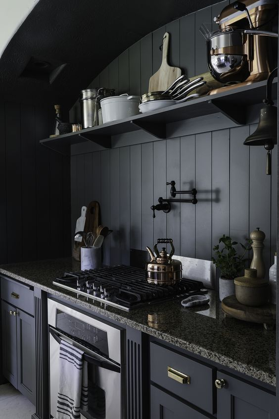 a vintage moody kitchen with graphite grey cabinets, stone countertops, a black beadboard backsplash and potted greenery