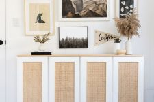 an IKEA Ivar cabinet done with cane webbing is a stylish idea for most places, and a wooden countertop adds coziness
