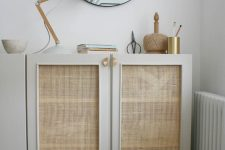 an IKEA Ivar cabinet hack with cane webbing and gold handles is a chic item to rock in many spaces
