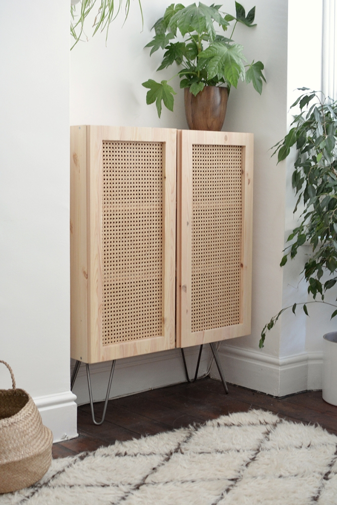 an IKEA Ivar cabinet hack with cane webbing and trendy hairpin legs is a stylish renovation