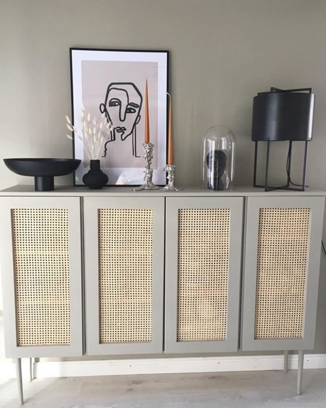 an IKEA Ivar cabinet hack with grey paint and cane wedding is a very stylish piece for a modern home