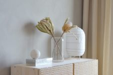 an IKEA Ivar hack with cane webbing inspired by IKEA Stockholm cabinet is a very chic and timeless piece to rock