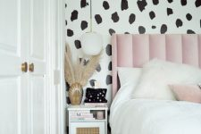an IKEA Songesand bedside table renovated with cane webbing and white paint looks pretty glam