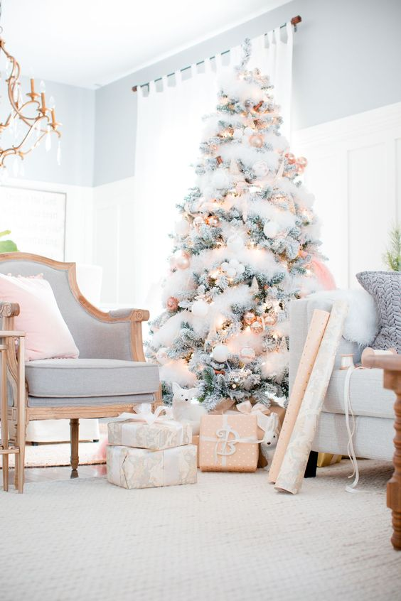 almost all-white christmas tree decor with golden touches