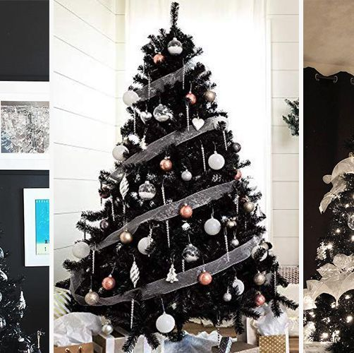 a black Christmas tree with white and sheer ribbons, white, gold and copper ornaments and lights is elegant and cool