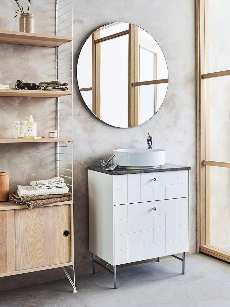 a Hemnes sink cabinet updated with new white block patterned fronts looks amazing, modern, stylish and very fresh