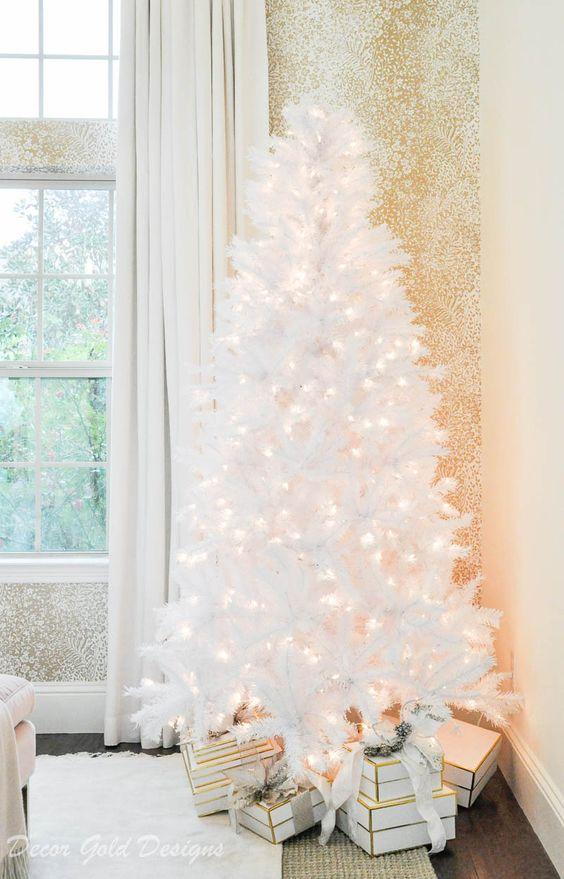 a white pre-lit Christmas tree is pure elegance and chic and is ideal to create a winter wonderland feel in the space